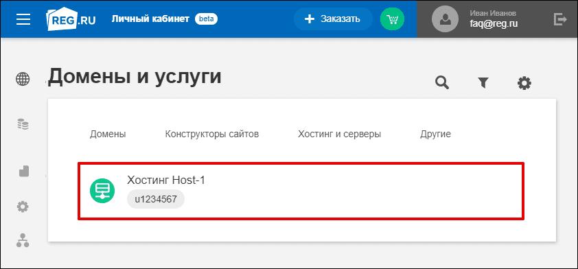Выбор в Рег Ру хостинга для привязки домена